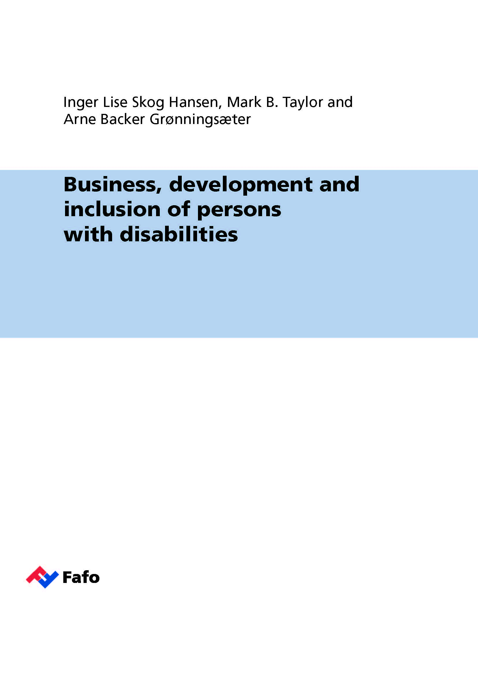 Business develpoment and inclusion of persons with diabilities