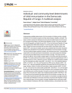 Individual-and community-level determinants of child immunization in the Democratic Republic of Congo: A multilevel analysis